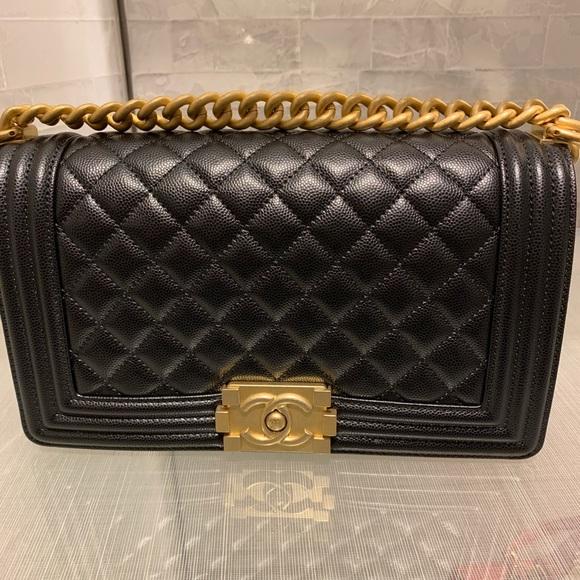 CHANEL Handbags - Chanel Black Boy Bag Caviar, Diamond Quilting
